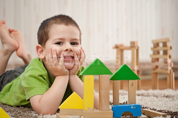 boy playing with blocks Stock photo © grafvision