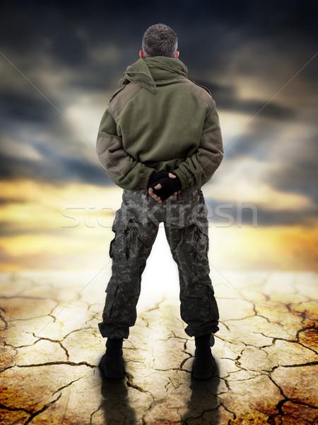 Восход военных Постоянный вид сзади глядя человека Сток-фото © grafvision