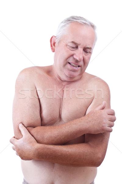 Pijn senior man elleboog medische lichaam Stockfoto © grafvision