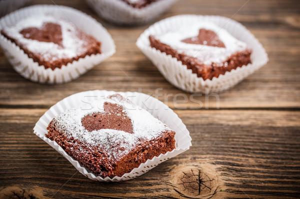 Chocolate corazón formas casa grupo cocina Foto stock © grafvision