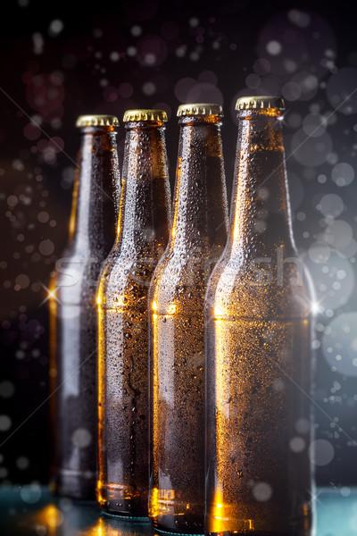 Bottiglie birra bokeh vetro sfondo bere Foto d'archivio © grafvision