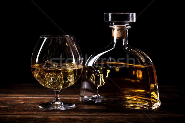 Verre cognac rustique table en bois fond boire Photo stock © grafvision