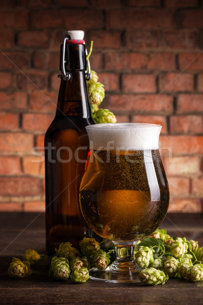 Bottle and glass of beer Stock photo © grafvision