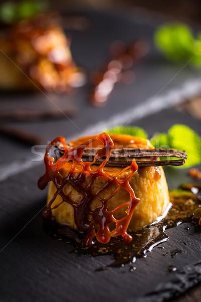 Vanille pouding dessert noir crème sweet Photo stock © grafvision