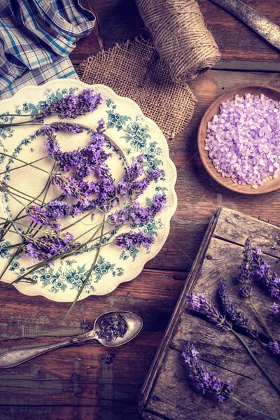 Сток-фото: морская · соль · ванны · свежие · лаванды · цветы · морем