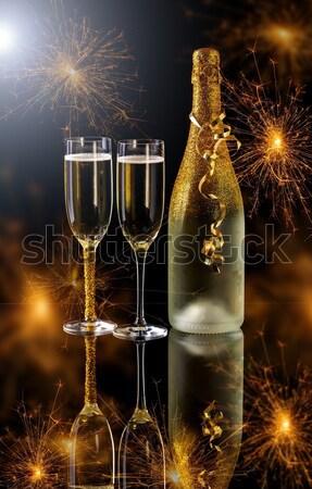 Photo stock: Deux · champagne · verres · prêt · nouvelle · année · fête