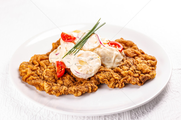 Stock photo: Large wiener schnitzel