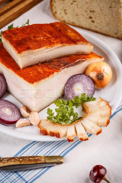 Smoked fat bacon Stock photo © grafvision