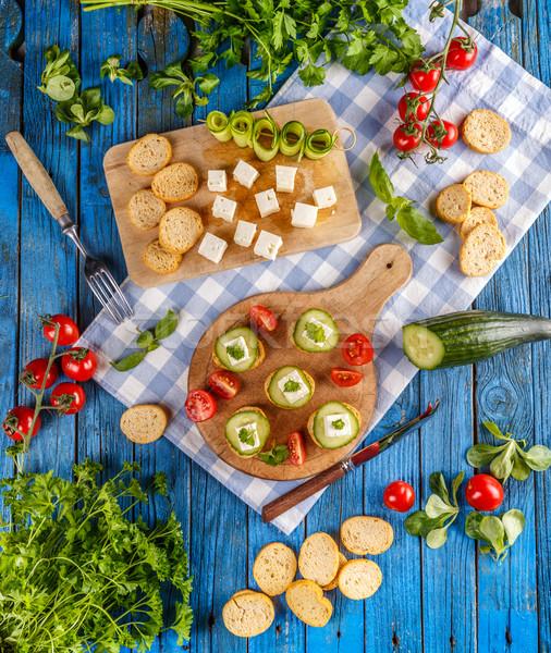 Top view italiana tostato pane all'aglio cetriolo Foto d'archivio © grafvision