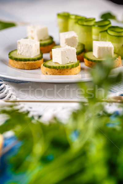 Bruschetta sózott fetasajt uborka étel buli Stock fotó © grafvision