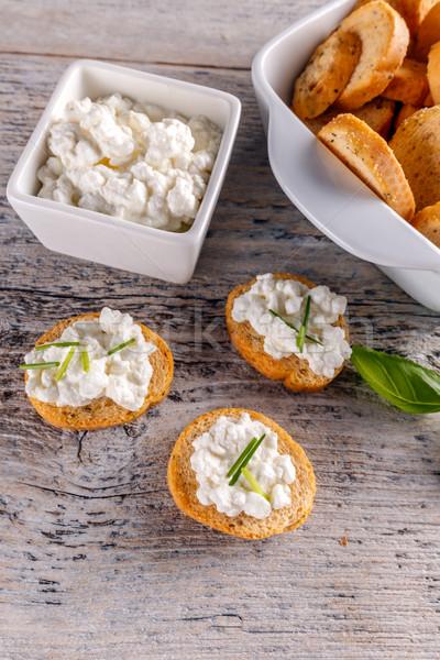 Cottage cheese volkoren vers ontbijt voedsel Stockfoto © grafvision