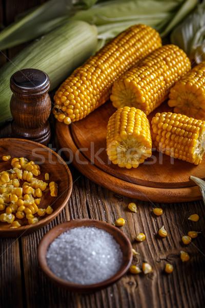Főtt kukorica só rusztikus stílus étel Stock fotó © grafvision