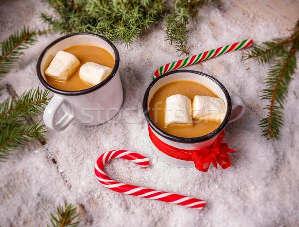 Forró csokoládé cukorkák ünnep csokoládé cukorka fehér Stock fotó © grafvision