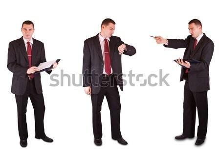 üzletemberek három izolált fehér üzlet háttér Stock fotó © grafvision