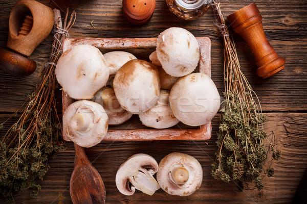 Biały pieczarka starych drewniany stół żywności łyżka Zdjęcia stock © grafvision