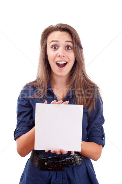 Genç kadın işaret boş kart el portre ciddi Stok fotoğraf © grafvision