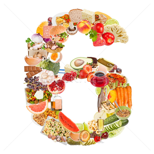 Number 6 made of food Stock photo © grafvision
