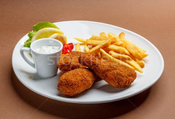 Frango assado tabela comida frango prato Foto stock © grafvision