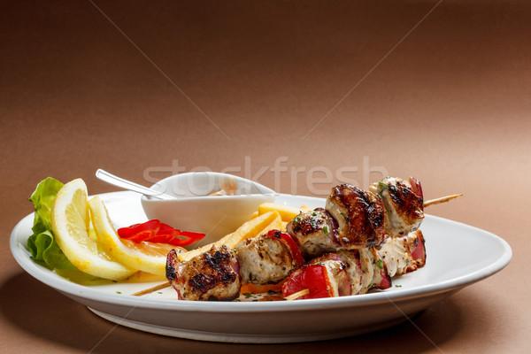 Kebab houten kip barbecue maaltijd schotel Stockfoto © grafvision