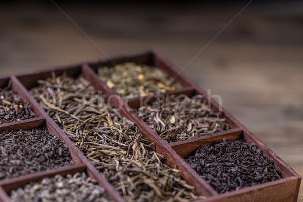 Wyschnięcia herbaty skrzynia charakter blisko Zdjęcia stock © grafvision