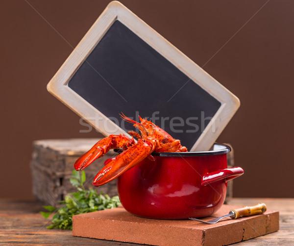 赤 ロブスター ポット 黒板 背景 生活 ストックフォト © grafvision