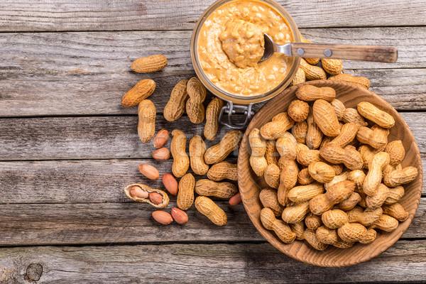 Burro di arachidi top view dadi alimentare Foto d'archivio © grafvision