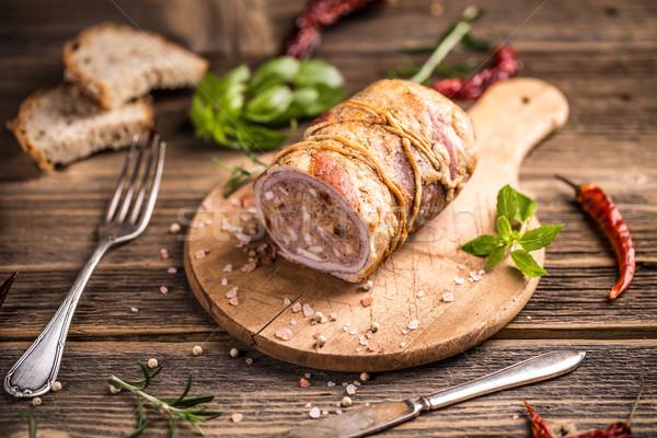 фаршированный мяса катиться разделочная доска продовольствие Сток-фото © grafvision