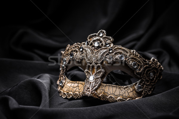 Stockfoto: Bruin · carnaval · masker · zwarte · zijde · vrouw