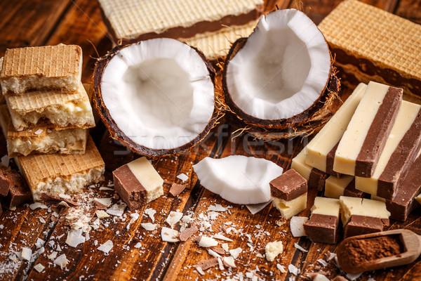 Oblea sándwich galletas casero chocolate fondo Foto stock © grafvision
