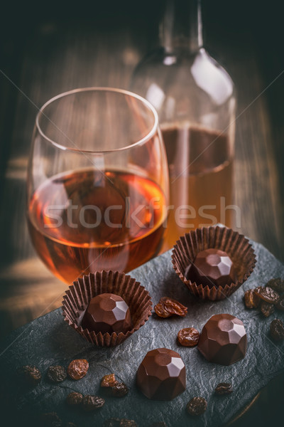 Dark chocolate praline with wine  Stock photo © grafvision