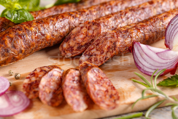 Fatias carne de porco salame comida Foto stock © grafvision