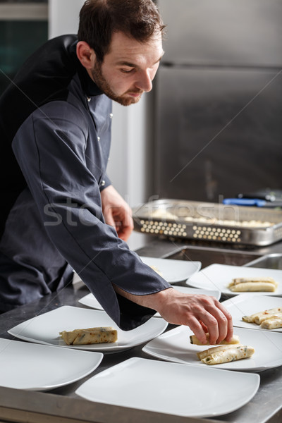Chef cooking for dinner Stock photo © grafvision