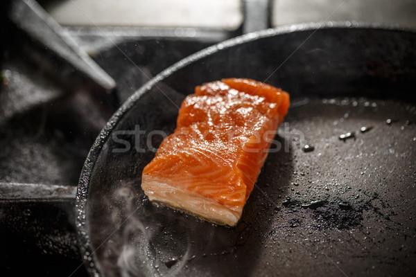 Frying fresh salmon steak Stock photo © grafvision
