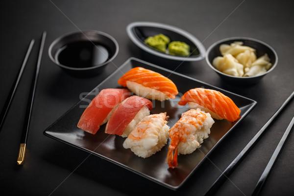 Sashimi sushi set soia zenzero wasabi Foto d'archivio © grafvision