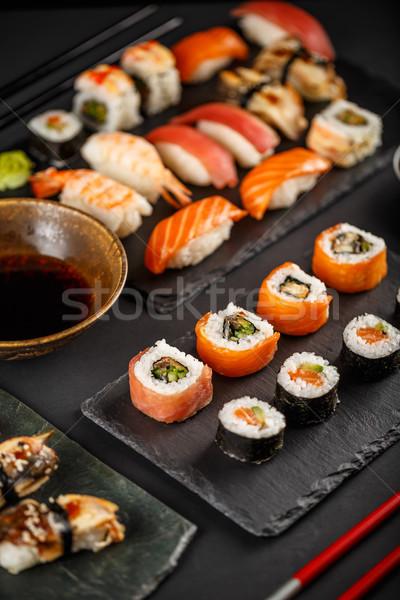 Sushi maki sashimi Japon favori gıda Stok fotoğraf © grafvision