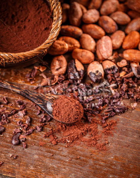 Kakaó bab klasszikus fa asztal csokoládé növény Stock fotó © grafvision