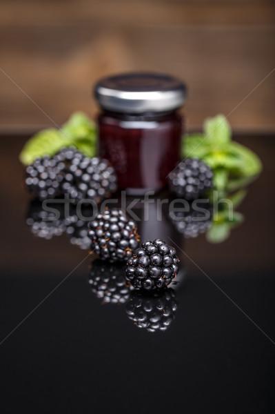 Házi készítésű szeder lekvár friss üveg bögre Stock fotó © grafvision