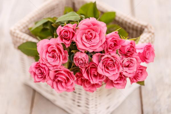 Stok fotoğraf: Pembe · güller · sepet · buket · çiçek · çiçekler