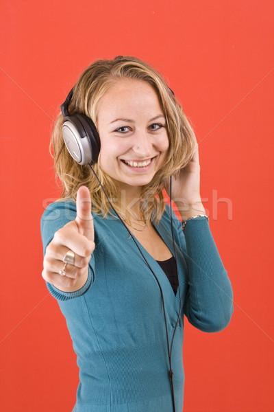 女性 ヘッドホン 幸せ 聞く 音楽 ストックフォト © grafvision