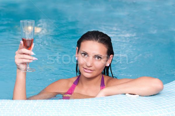 小さな 美人 ジャグジー シャンパン 幸せ ストックフォト © grafvision