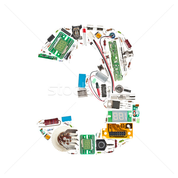 Number '3' made of electronic components  Stock photo © grafvision