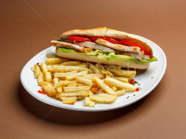 Gegrilde kip sandwich vlees borsten tomaat Stockfoto © grafvision