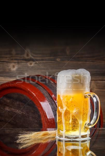 ガラス ビール バレル 小麦 レトロな 暗い ストックフォト © grafvision