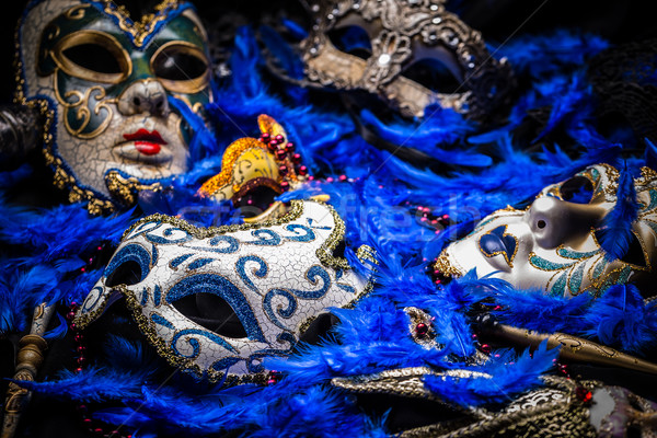 Stok fotoğraf: Maske · grup · venedik · gizlemek · tüy · arka · plan