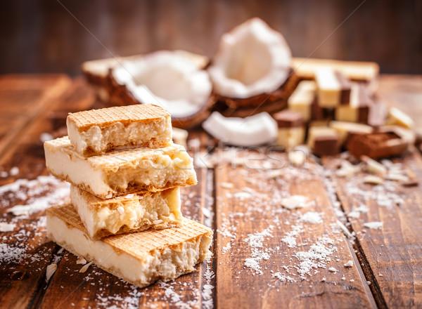 Ostya szendvics kekszek boglya fa asztal háttér Stock fotó © grafvision