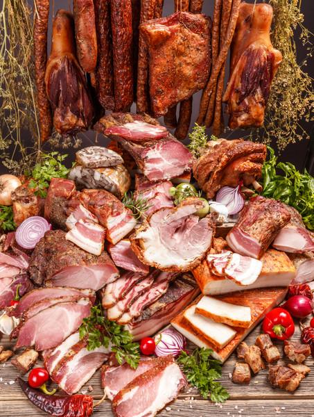 Fumado carne de porco carne produtos comida fundo Foto stock © grafvision