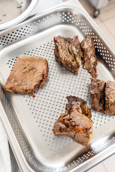 Rundvlees vlees dienblad hotel restaurant keuken Stockfoto © grafvision