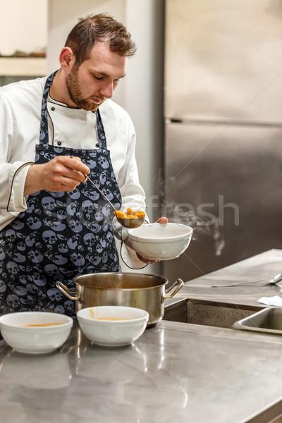 повар суп ковш продовольствие стороны Сток-фото © grafvision