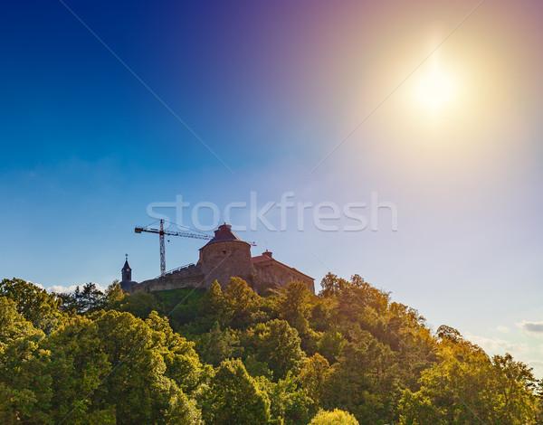 Castello ricostruzione lavoro cielo foresta montagna Foto d'archivio © grafvision