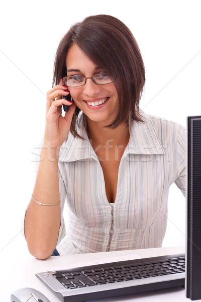 Jovem mulher de negócios retrato encantador telefonema escritório Foto stock © grafvision